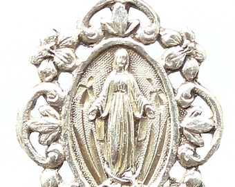 "Vintage Our Lady of Lourdes SILVER Religious Medal Pendant on 18"" sterling silver rolo chain"