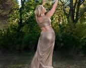 Gold Frost, Erte Inspired Mermaid Skirt with Side Train
