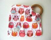 Organic Baby Teether Owl- WOOD Teething Ring- Owl Teething Blanket- Wood Teether- Teether Lovey BLANKIE- Natural Teether- Organic Baby Gift