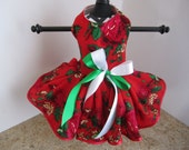 Dog Dress  XS Red with Red Flowers and Trim  By Nina's Couture Closet