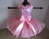 Dog Dress XS Pink with pearls  by Nina's Couture Closet