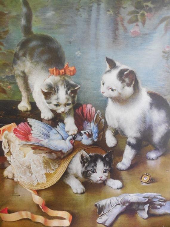 Playful Kittens: Vintage Carl Reichert Art Print for Framing