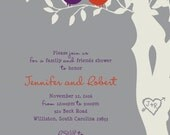 Custom Listing for Allison Dorn DIGITAL FILES - Purple, orange and gray love birds in a tree wedding invitations