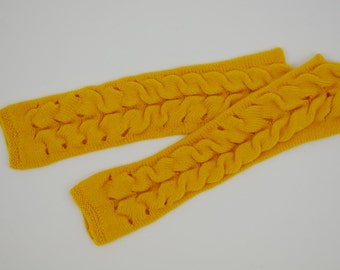 Women's Long Yellow Knit Fingerless Gloves Knitted Arm Warmers Wrist Warmers  Half Finger Gloves