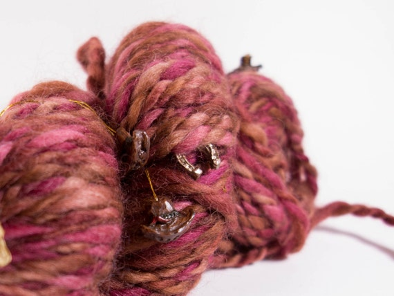 Handspun Yarn, Handspun Art Yarn, The Painted Desert, 116 yards, 7 wpi