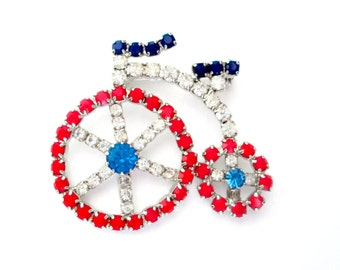 Bicycle Tricycle Brooch Red White Blue Glass Rhinestones Pin 1970s Bling