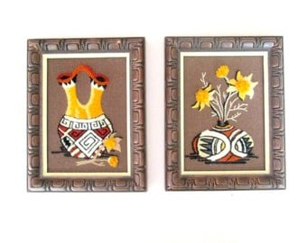 Wood Framed Southwestern Embroidery Wall Hanging Pictures Vintage 1970s Home Decor