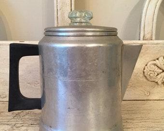 Rustic Stovetop Coffee Pot - Vintage Comet percolator coffee pot