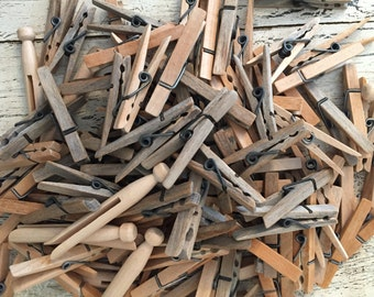 120 Vintage Weathered Wood Clothespins - Great for Crafts, Wedding or Decor