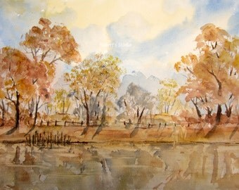 Watercolor Landscape, autumn print, archival print, autumn landscape painting, fall painting, autumn lake, country hills, nature painting.