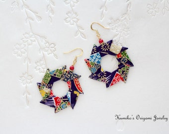 Origami Jewelry - Origami Wreath Earrings with Surgical Steel Hooks No.03133