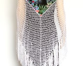 White Crocheted Wraps Shawl with combining Floral Fabric, Boho Gypsy Scarf, Russian Style Shawl, Floral Fabric Scarf