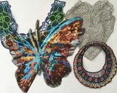 Embroidered Patch and Sequin Butterfly Patch, 4 Pieces, Crafting Supply, Sewing Supply