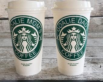 Goalie Mom or Dad Starbucks Coffee travel tumbler mug cup
