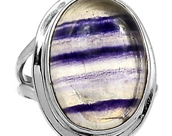 Flourite Ring in Sterling Silver SIZE 7.5 Undyed.