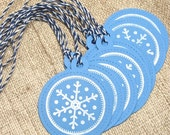 Holiday Gift Tags, Christmas Gift Tags Snowflake tags, Blue and White, Set of Tags, Set of 8