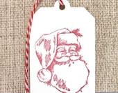 Christmas Gift Tags, Holiday Gift tags,Santa Claus, Handmade Gift Tags, Set of 6