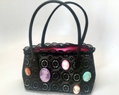 Black Lace and Cameo Evening Bag - Lolita Purse
