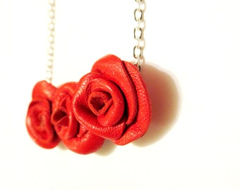 3rd anniversary gift Leather rose necklace -flower Necklace -red leather rose -Three Roses Pendant - leather necklace