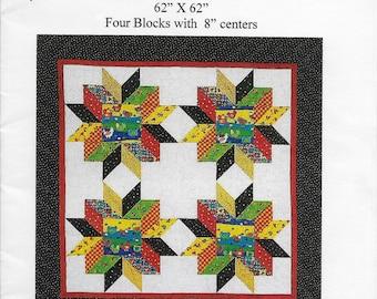 CHICK-N-STARS fat quarter quilt pattern, Paper Pattern, Wall Hanging Pattern