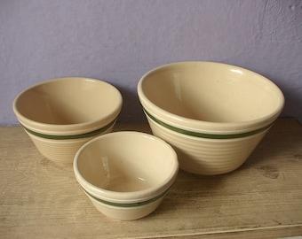 Vintage 1940's Watt Pottery Mixing Bowls set, 5, 6 and 7, Green band, Antique kitchen, Retro kitchen bowls, Ceramic bowls set of 3,