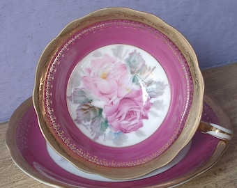 Vintage Early 1950's Occupied Japan teacup and saucer, Pink roses tea cup, Porcelain tea cup, Pink tea cup, Antique Pink and gold tea cup