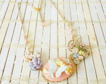 Butterfly Cameo Assemblage Necklace, Pastels, pale colors, Fairy Kei, garden Party, Porcelain flowers, Upcycled vintage, Floral necklace