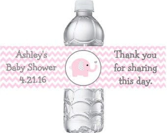 15 Personalized Pink & Grey Elephant Baby Shower Water Bottle Labels - Chevron Pink Gray Elephant Water Bottle Stickers *Discounts Available