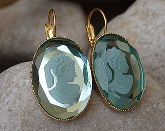 Cameo earrings. Blue romantic cameo earrings. Antique style cameo jewelry gift. Vintage style earrings. Italian cameo earrings.Italy jewelry