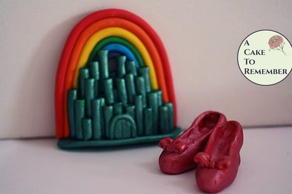 Rainbow cake topper with Emerald City and Ruby Slippers ...