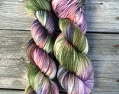 Hand Painted Yarn, Hand Dyed Yarn, Fingering Weight Yarn, Hand Painted Wool