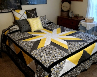 QUEEN bed quilt.  Black and Yellow floral print inspired this dramatic Star pattern center. Bedroom Decor. Bedspread. Comforter.