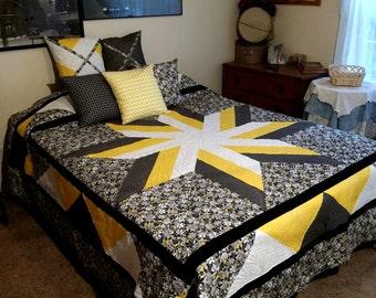 Black and Yellow QUEEN bed quilt. Star pattern center. Bedroom Decor. Bedspread. Comforter.