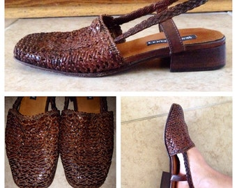80s italian braided leather slingback sandals