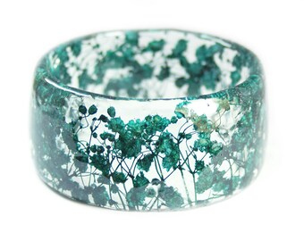Jewelry with Real Flowers- Dried Flowers- Teal Bracelet - Turquiose Dried Flowers- Green Bracelet- Resin Jewelry
