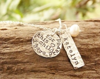 For This Child I Have Prayed Necklace Silver Hand Stamped Name Disc Tag Jewelry