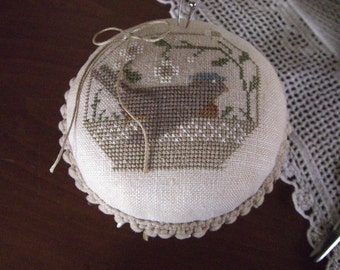 Cross Stitch on Linen Bird in Nest Pinkeep on Candlestick Base with Vintage Button Trim
