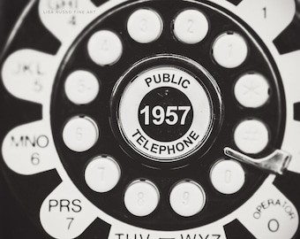 Mid Century Modern Print or Canvas Art, Bar Art, Vintage Telephone Print, 1957 Public Telephone Print, Retro Black and White Photography.