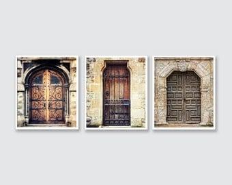 Set of 3 Rustic Door Prints, Ornate Vintage Door Prints Set, Foyer Decor, Kitchen Decor, Mudroom Decor, Warm Brown Rustic Art, Vertical Set.