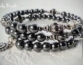 Men's Rosary Bracelet Wrap,Hematite Wrist Rosary,Catholic Bracelet,Groom's Gift,Boy's Confirmation Gift,Father's Gift,Religious Gift,117-25