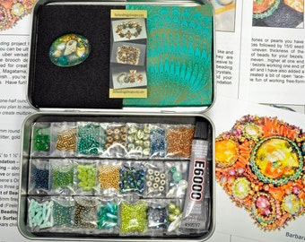 """Hold for Terry - One-of-a-Kind """"Sea Garden"""" Free-Form Bead Embroidery Brooch Kit #13 Ocean Tones"""