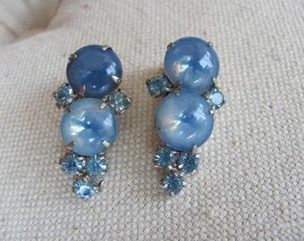 Vintage Givre Glass Earrings Clip On