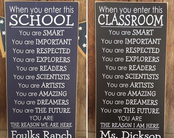 When you enter this SCHOOL or CLASSROOM Teacher wood sign, classroom decor, gift, wall hanging, Home school - with vinyl lettering