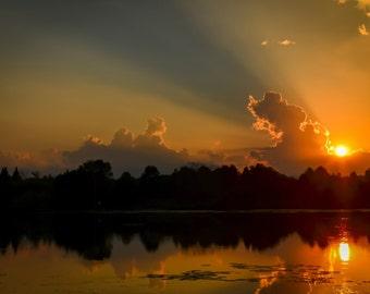 Sunset Photography dramatic sky,rich colors,lake,art,home decor,breathtaking sunset on lake,bronze,golden sky,stunning nature print,sunrays