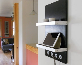 CHARGING STATION: For Him, Black Modern Wall Mount iPad Docking Unit with Key Hooks and 2 Shelves, Wood with Metal Details.