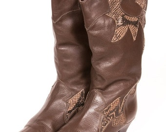 30% OFF 1980's SNAKESKIN Boots Women's Size 8
