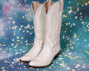 NOCONA White Cowboy Boots Women's Size 7 NARROW