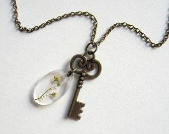 Secret Garden Gate Key Necklace with Real Gypsophila - botanic jewelry, pressed flower, white, natural, FH Burnett, skeleton key, gate lock