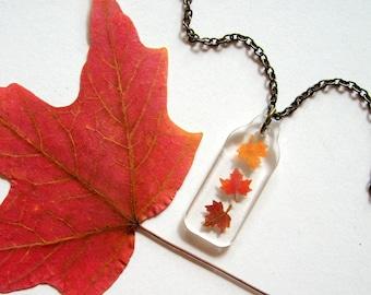 Falling Mini Maple Leaves - Real Autumn Leaves Necklace - Pressed leaves, maple leaves necklace, Autumn, Canada, woodland, miniature, ooak