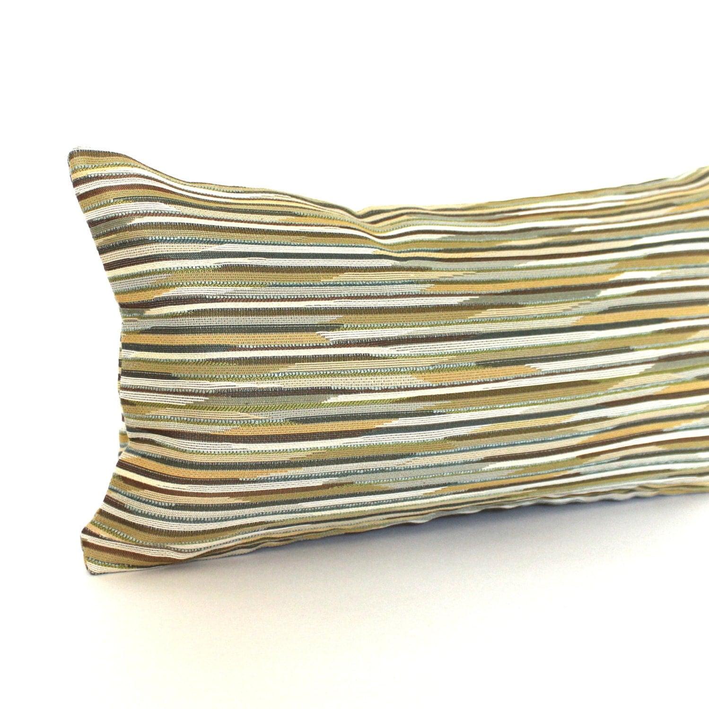 Lumbar Pillow Cover Green Teal Gold Brown Stripe Textured